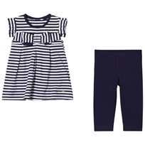 Mayoral Navy and Diamant Bow Stripe Leggings Set 79