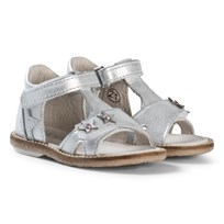 Noël White and Silver Star and Diamante Mini Stebi Velcro Sandals 082