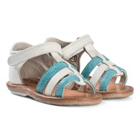 Noël White and Aqua Leather Velcro Mini Servi Sandals 097