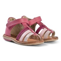Noël Pink Strappy Leather Velcro Mini Servi Sandals 078