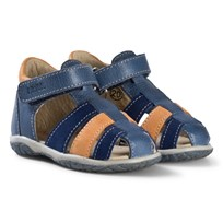 Noël Blue, Navy and Tan Leather Mini Tin Closed Toe Sandals 008