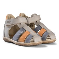 Noël Grey, Blue and Tan Leather Mini Tin Closed Toe Sandals 011