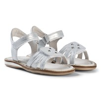 Noël Silver Embroidered and Diamante Leather Velcro Siri Sandals 082