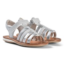 Noël Silver Metallic Strappy Leather Sydni Sandals 082