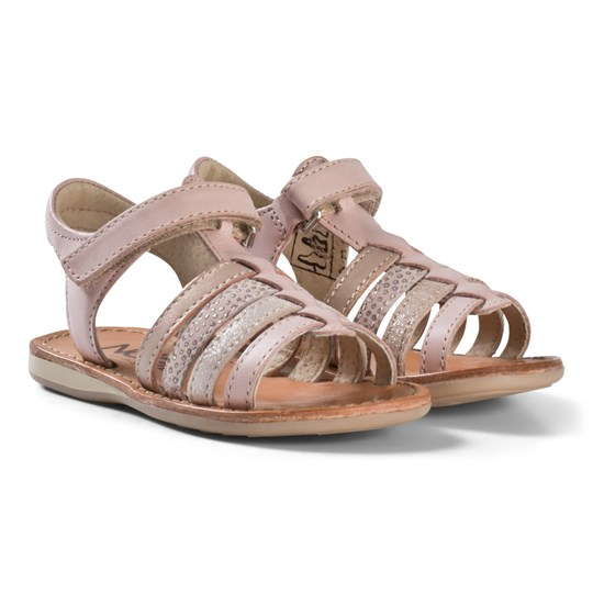Noël Pink Metallic Strappy Leather Sydni Sandals 063