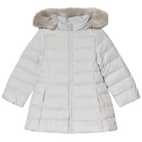 United Colors of Benetton Down Puffa Coat With Faux Fur Trim Hood Light Grey Light Grey