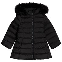 United Colors of Benetton Down Puffa Coat With Faux Fur Trim Hood Black Black
