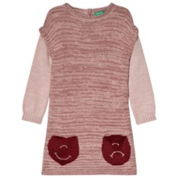 United Colors of Benetton Long Sleeve Knit Dress Pink