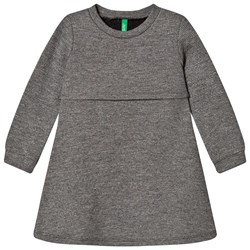 United Colors of Benetton Long Sleeve Dress With Zip Back Detail Mid Grey