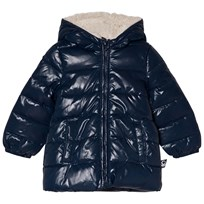 United Colors of Benetton Fleece Lined Hooded Puffa Jacket Navy Laivastonsininen