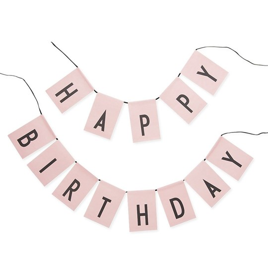 Design Letters Happy Birthday flags Pink