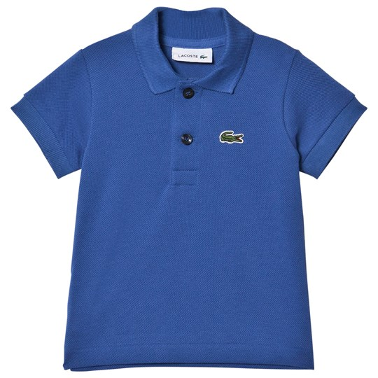 Lacoste Blue Pique Ribbed Collar Shirt Elysee Blue