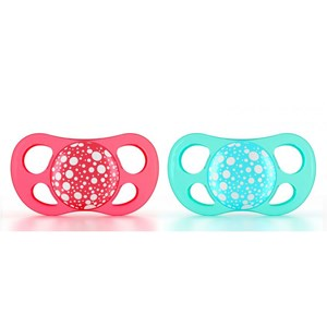Image of Twistshake 2-Pack Orthodontic Pacifiers Large (6+ m) Peach/Turquoise (3056116387)