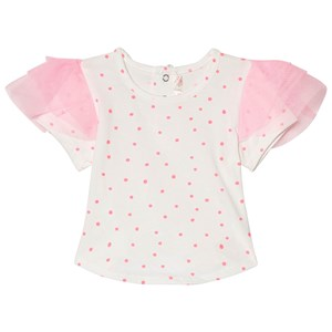 Image of Billieblush White and Pink Sport Frill Sleeve Tee 2 years (2946990137)