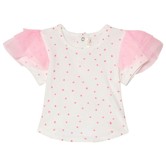 Billieblush White and Pink Sport Frill Sleeve Tee Z40