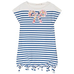 Image of Billieblush Blue Stripe Beaded Bow Detail Jersey Dress 2 years (2946987575)