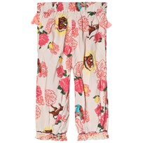 Billieblush White and Pink Bollywood Print Wide Leg Trousers Z40