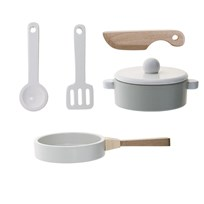 Bloomingville Play Set, Kitchen, Nature/White/Grey, Set of 5 Kitchen, Nature/White/Grey