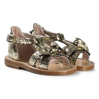 Chloé Gold Wide Bow Leather Sandals 593
