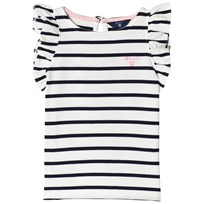 Gant White and Navy Frill Sleeve Tee 113