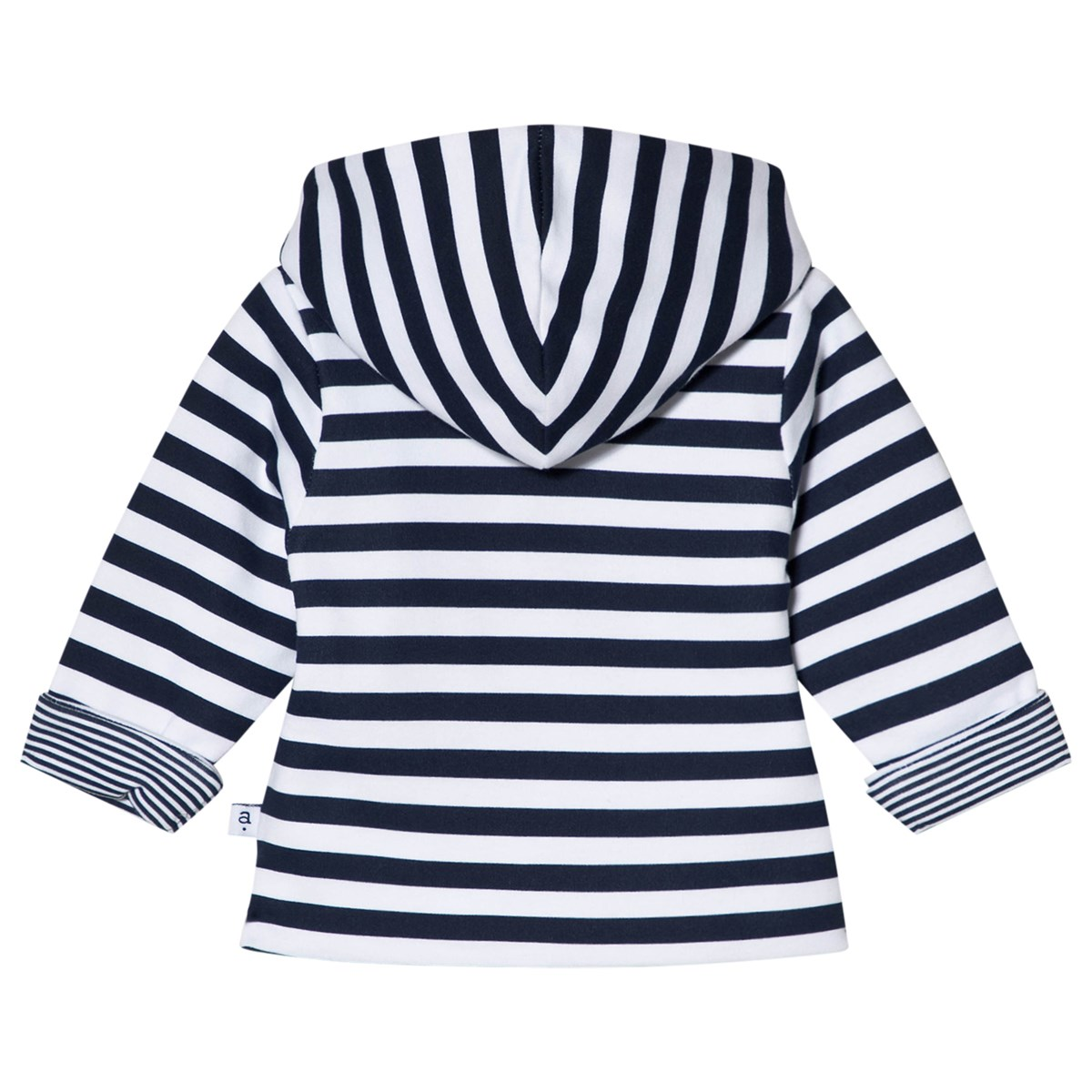 Absorba - White and Navy Reversible Stripe Hooded Jacket ...