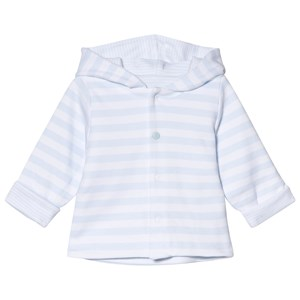 Image of Absorba White and Pale Blue Reversible Spot and Stripe Hooded Jacket 1 month (2946989779)