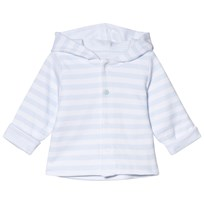 Absorba White and Pale Blue Reversible Spot and Stripe Hooded Jacket 40