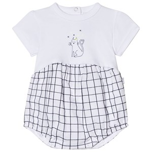 Image of Absorba White Cat Print Check Romper 1 month (2946989621)