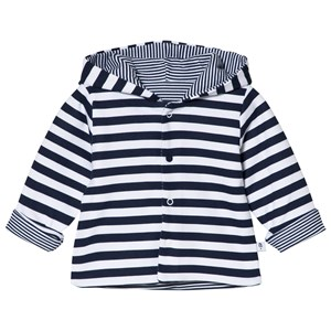 Image of Absorba White and Navy Reversible Stripe Hooded Jacket 3 months (2946989765)