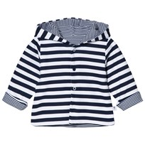 Absorba White and Navy Reversible Spot and Stripe Hooded Jacket 04