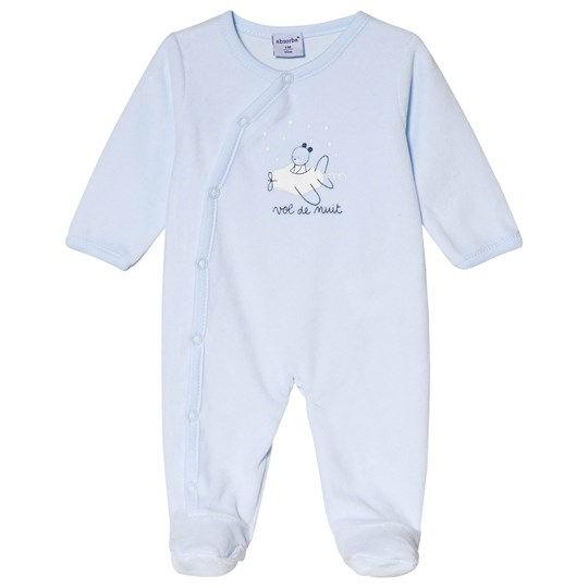Absorba Pale Blue Printed Velour Footed Baby Body 41