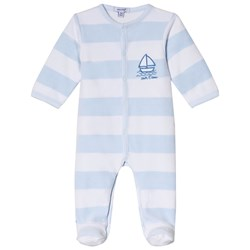Absorba Pale Blue Velour Footed Baby Body