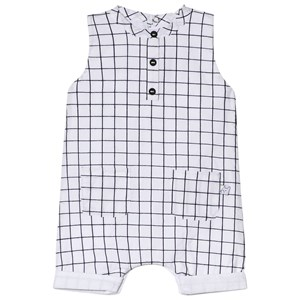 Image of Absorba White Check Print Romper 6 months (2946989645)
