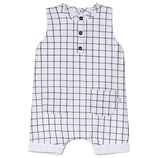 Absorba White Check Print Romper 01