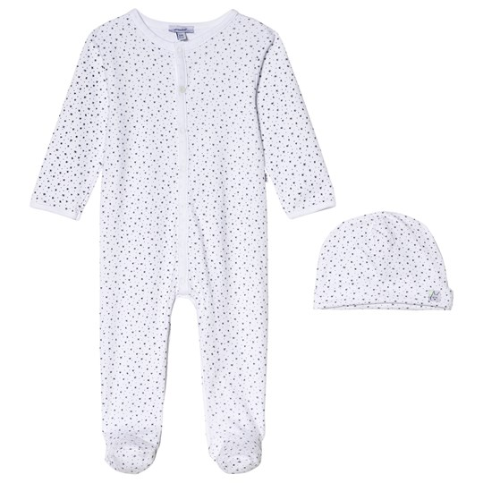 Absorba White Stars Print Footed Baby Body 2-Piece Set 01