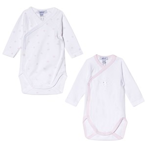 Image of Absorba Pink and White Pink and White Spot Printed Long Sleeve Wrap Bodies 2-Pack Spot Printed 2-Pack Wrap Bodies 3 months (2946985929)