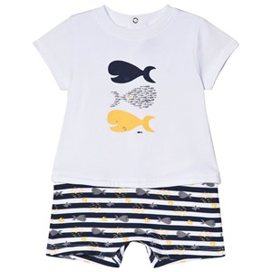 Image of Absorba White Fish Print Romper 3 months (2946989399)