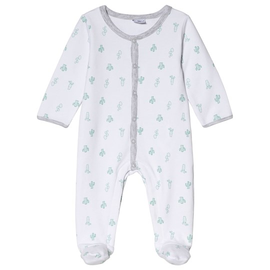 Absorba White Cactus Print Footed Baby Body 01