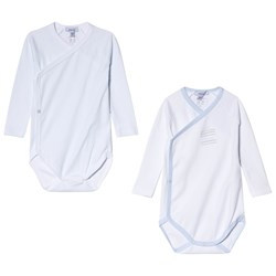 Absorba Pale Blue and White Printed Long Sleeve Wrap Bodies 2-Pack