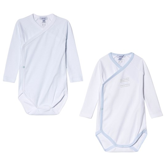 Absorba Pale Blue and White Printed Long Sleeve Wrap Bodies 2-Pack 40