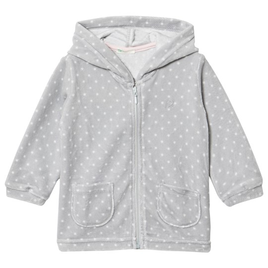 United Colors of Benetton Polkadot Velour Hoodie Grey Black