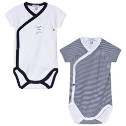 Absorba Navy and White Short Sleeve Wrap Bodies 2-Pack