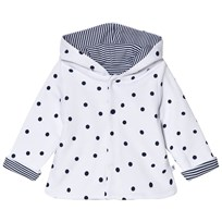 Absorba White and Navy Reversible Spot and Stripe Hooded Jacket 01