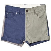 Stella McCartney Kids Blue and Khaki Block Colour Shorts 4160