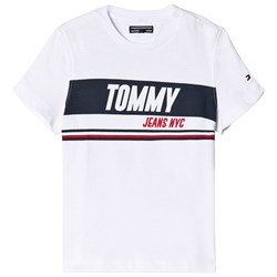 Tommy Hilfiger White Sporty Block Panel Branded Tee