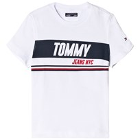 Tommy Hilfiger White Sporty Block Panel Branded Tee 123