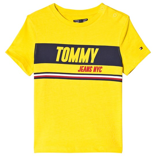 Tommy Hilfiger Yellow Sporty Block Panel Branded Tee 711