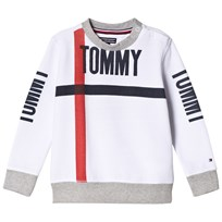 Tommy Hilfiger White Bold Text Branded Crew Sweater 123