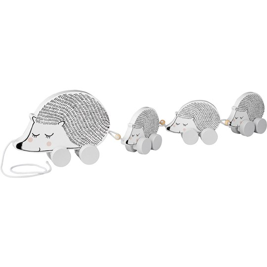 Bloomingville White Hedgehog Pull-Along Toy Multi