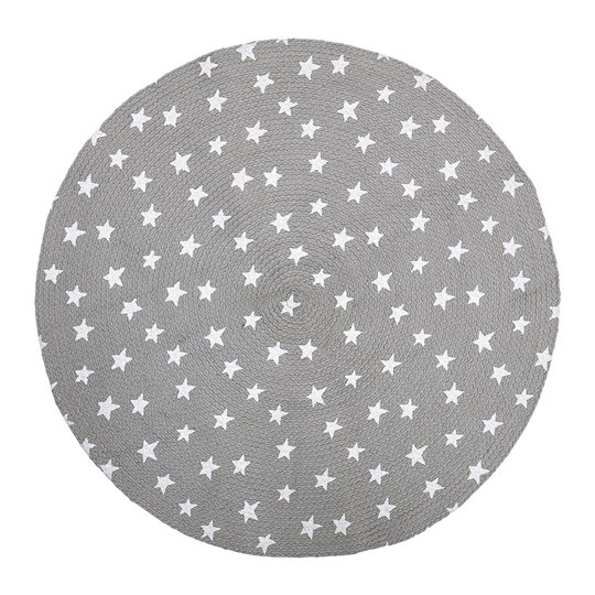 Bloomingville Jute Carpet Grey Stars Black